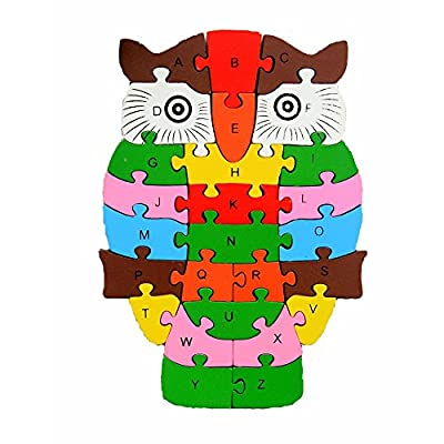 Children Preschool 26 Alphanumeric Wooden Building Blocks Cognitive Intelligence Owl Puzzle Toys Montessori Jigsaw Educational learning for Baby Birthday Christmas Gift