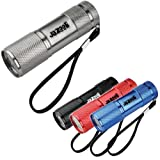 Jazooli Super Bright 9 LED Mini Torch Flashlight Light - Silver