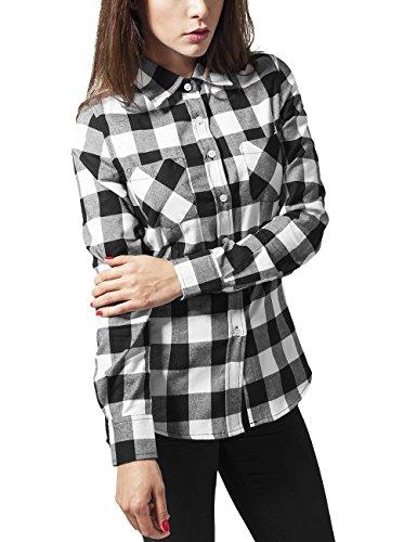 Urban Classics Ladies Checked Flanell Shirt, Camicia Donna, Mehrfarbig (blk/wht 50), 36 Inches (taglia Produttore: S)