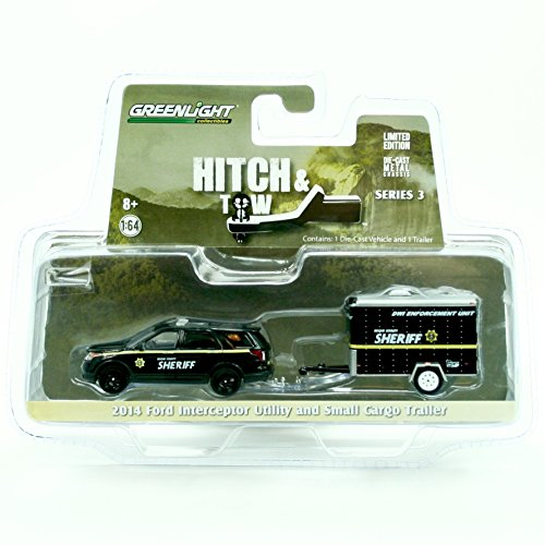 2014 Ford Interceptor Utility & Small Cargo Trailer (Boone County Sheriff) HITCH & TOW Truck & Trailer Series 3 Limited Edition 2015 Greenlight Collectibles 1:64 Scale Die-Cast Vehicle Set (1 64 Enclosed Trailer compare prices)