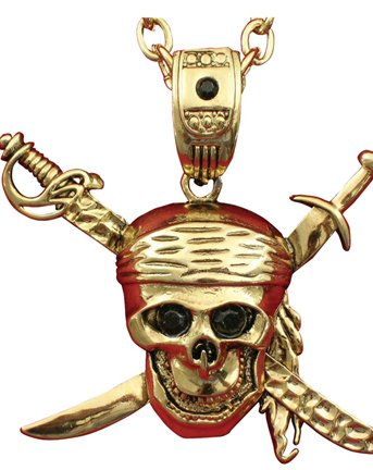 Pirate Skull and Swords Necklace Costume Accessory