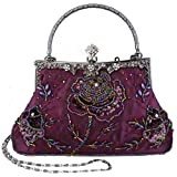 Exquisite Antique Seed Beaded Rose Evening Handbag, Clasp Purse Clutch w/Hidden Handle and Chain