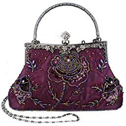 MG Collection Ginny Seed Beaded Rose Evening Purse Clutch Bag, Purple, One Size