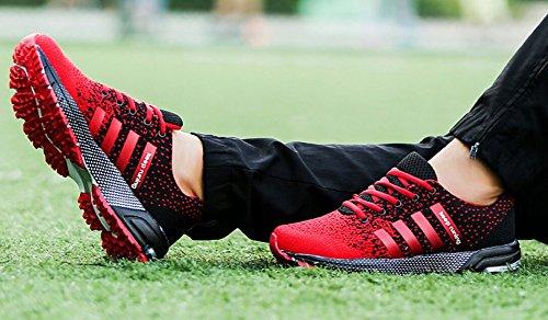 JiYe Athletic Shoes Men's Women's Outdoor Tennis Jogging Walking Fashion Sneaker,Running Shoes,Black Red,10.5US-Women/9.5US-Men