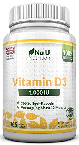 Vitamin D3 1000IU von Nu U, 365 Softgel-Kapseln...