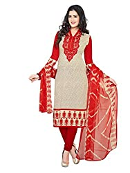 PShopee Red Synthetic Printed Unstitched Suit Dress Material