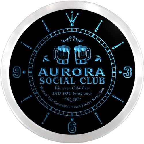 Ncpz2106-B Aurora Social Club Bar Beer Led Neon Sign Wall Clock