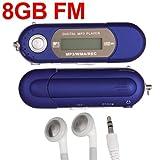 SODIAL(R) Blue 8GB LCD Mini MP3 WMA Player FM Radio USB Flash Drive
