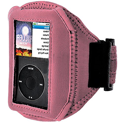 Mylife (Tm) Light Pink Velcro Strap (Light Weight Neoprene + Secure Running Armband) For Apple Ipod Classic 1St, 2Nd, 3Rd, 4Th, 5Th, 6Th And 7Th Generation (30Gb/60Gb/80Gb/120Gb/160Gb) (Universal One Size Fits All + Velcro Secured + Adjustable Length All