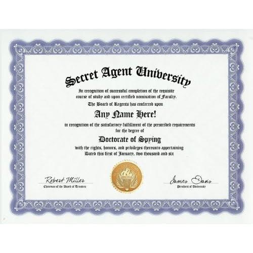 Secret agent spy degree custom gag diploma for Interior design masters degree nyc