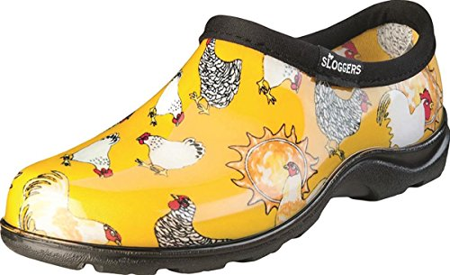 Sloggers 5116CDY07 Chicken Print Collection Women's Rain & Garden Shoe, Size 7, Daffodil Yellow