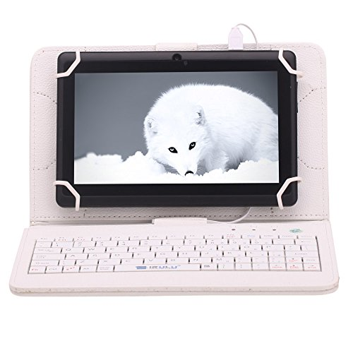 """Irulu Hd Screen Q8 7"""" Android Tablet With Keyboard Case, Android 4.2 Jelly Bean Os, 1024*600 Hd Screen With 5 Point Capactive Touch, Allwinner A23 Dual Core Cpu, Dual Cameras(0.3/2Mp), 8Gb Storage - Black Tablet With White Keyboard Case"""