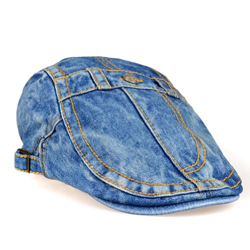 LOCOMO Blue Washed Jeans Denim Fabric Button Fake Pocket Flat Cap FFH118BLU Apparel Accessories ...