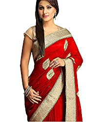 Rensil Women's Georgette Saree (RIE-H-075_Red)