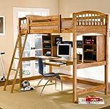 Solid Hardwood Warm Brown Finish Workstation Bunk Bed
