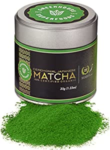 Greenhouse Superfoods, Ceremonial Matcha (1st Harvest Japanese) Ultra Premium, 200 Year History, USDA & JONA Certified Organic, Bonus Size 17% More (35g)