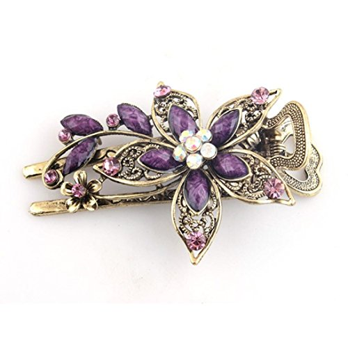 GBSELL Vintage Flower Jewelry Crystal Hair Clips Hairpins Accessories For Weddings Christmas (Purple)