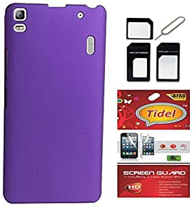 Tidel Purple Rubberised Slim Hard Case Back Cover For Lenovo K3 Note With Tidel SCREEN GUARD & MICRO/NANO SIM ADAPTER