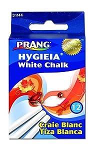 Prang Hygieia Chalk, 3.25 x 0.375 Inch Chalk Sticks, 12 Count, White (31144)