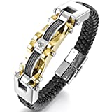 Mens Stainless Steel Genuine Leather Bracelet Bangle Cuff Cable CZ Gold Silver Black Biker Punk Rock