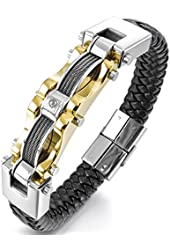 Men's Stainless Steel Genuine Leather Bracelet Bangle Cuff Cable CZ Gold Silver Black Biker Punk Rock