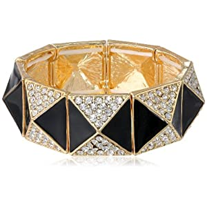 Goldtone Jet Epoxy and Stone Pyramid Stretch-Bracelet, 7