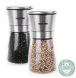HomySnug Salzmühle Pfeffermühlen Gewürzmühle mit verstellbares Keramikmahlwerk und schönem Glasgehäuse für Salz, Pfeffer oder andere Gewürz, 2 Stück