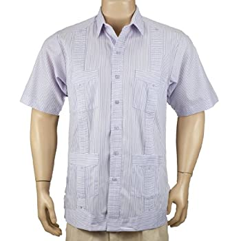 Deluxe Short Sleeve fitted White-Lavender Stripped Guayabera