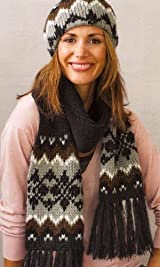 Fair Isle Fringe Scarf Black