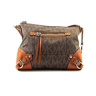 Amazon com michael kors pvc leather fallon signature messenger bag