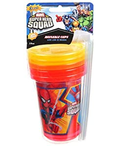 Amazon.com : Marvel Super Hero Squad 3 Cup Pack with Lids and Straws