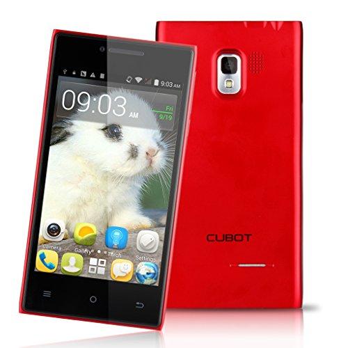Simlockfrei Freigeschaltetes günstiges Cubot Handy CT72+ 4.0 Zoll Android 4.4 Dual SIM Kamera 4GB WiFi Smartphone ohne Vertrag GT72 Plus Rot GT72+ 4,0 Zoll Android Kitkat Handy Dual SIM Dual Kore MTK6572 2G 3G Wifi Smartphone ohne CPS Funktion(512MB +4GB R) (Cubot GT72 Upgrade) DE