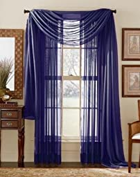 LuxuryDiscounts Beautiful Elegant Solid Navy Blue Sheer Scarf Valance Topper 37\