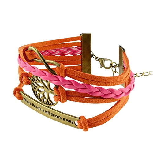 Insten Fashion Multistring Bracelet with Charms, Orange/ White/ Bronze Idiom Plate (Pater Noster Cord compare prices)