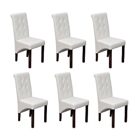 6 x Sillas Blancas de Comedor Cuero Artificial