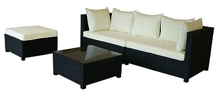 KMH®, 3-teilige Gartensitzgruppe (schwarz) (inklusive Auflagen und Kissen) (#106112)