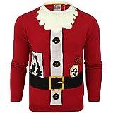 Mens Xmas Christmas Jumper Novelty Threadbare 3D Santa Elf Crew Neck Sweater