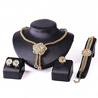 African Beads Jewelry Sets Wedding Dress Accessories Costume Women Party Gold Plated Crystal Indian Necklace Bangle Earring Ring