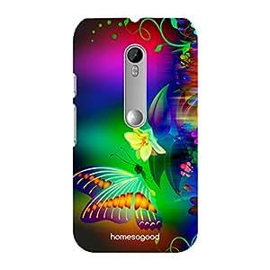 HomeSoGood Colorful Butterflies Multicolor 3D Mobile Case For Moto G 3rd Gen (Back Cover)