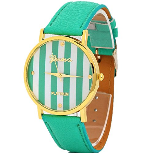 Suppion Popular Fashion Woman Man Classic Stripes Print Pu Leather Analog Quartz Wrist Watch Green