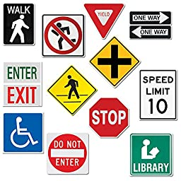 Creative Teaching Press 10-Inch Jumbo Designer Cut-Outs, Street Signs (5987)