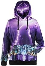 HEROSKY Print Long Sleeve Pullovers Hooded Loose Sweatshirt Outerwear Coat