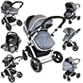 i-Safe System - Grey Trio Travel System Pram & Luxury Stroller 3 in 1 Complete With Car Seat by iSafe