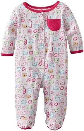 ABSORBA Baby-Girls Newborn Bear Cotton Footie, Multi, 3-6 Months