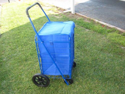 Super Shopping Cart - Folding Grocery Cart - Blue (Blue Cart)