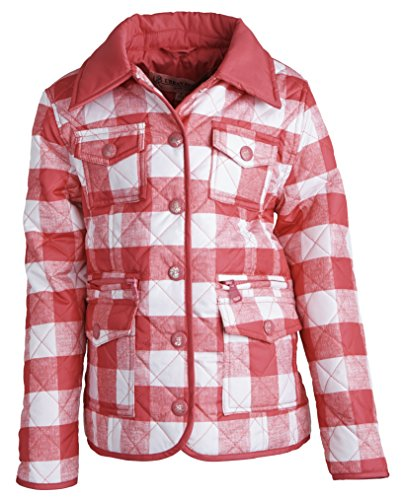 Urban Republic Girls Lightweight Padded Quilted Spring Jacket with Collar - Pink Gingham (Size 2T)