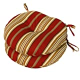 Greendale Home Fashions Round Indoor/Outdoor Bistro Chair Cushion, Roma Stripe, 15-Inch, Set of 2