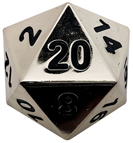 Custom & Unique {Jumbo Massive Huge XXL 45mm} 1 Ct Single Unit Set of 20 Sided [D20] Icosigon Shape Playing & Game Dice Made of Metal w/ Simple Classy Chrome Design [Silver & Black]