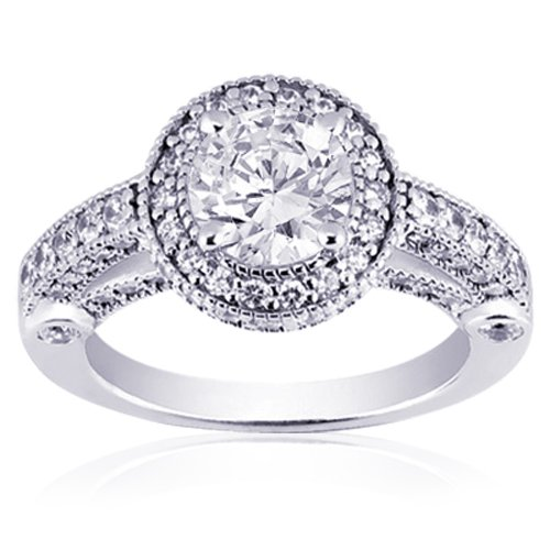 2.00 Ct Round Diamond Engagement Ring Vintage Pave SI2