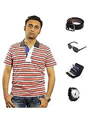 Garushi Orange T-Shirt With Watch Belt Sunglasses Cardholder - B00YML7ZHY